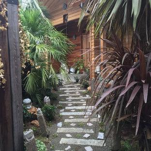 他の地域の中サイズのラスティックスタイルのおしゃれな庭 (庭への小道、日向) の写真