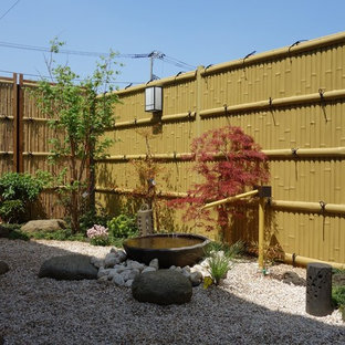 Design ideas for a mid-sized asian backyard partial sun formal garden in Other with a water feature and gravel.