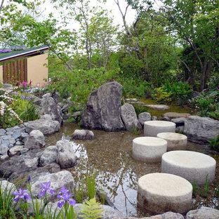 他の地域のアジアンスタイルのおしゃれな庭 (池、天然石敷き) の写真