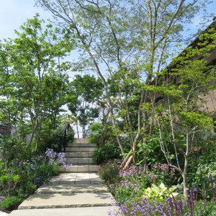 他の地域の中くらいの、夏のモダンスタイルのおしゃれな庭の通路 (天然石敷き) の写真