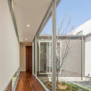 他の地域のモダンスタイルのおしゃれな廊下 (白い壁、濃色無垢フローリング、茶色い床) の写真