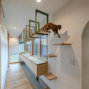 Idéer för minimalistiska hallar, med vita väggar och plywoodgolv