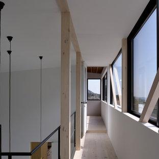 他の地域のモダンスタイルのおしゃれな廊下 (白い壁、淡色無垢フローリング、ベージュの床) の写真