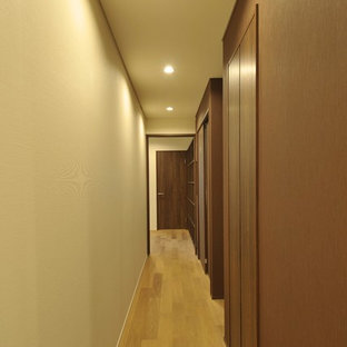 Small trendy plywood floor and brown floor hallway photo in Tokyo with multicolored walls