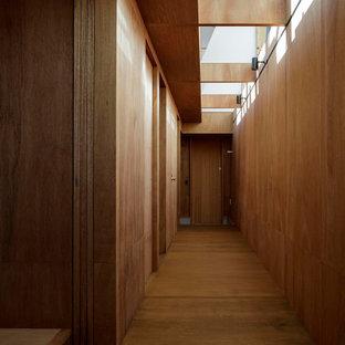 Inredning av en modern liten hall, med bruna väggar, plywoodgolv och brunt golv