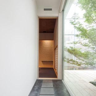 他の地域のモダンスタイルのおしゃれな廊下 (白い壁、グレーの床) の写真