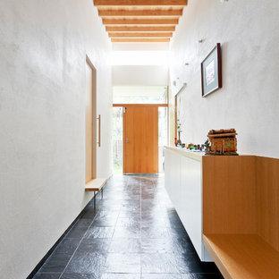 他の地域の広いコンテンポラリースタイルのおしゃれな廊下 (白い壁、スレートの床、黒い床) の写真