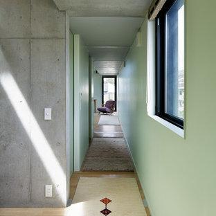 Couloir moderne avec un mur vert : Photos et idées déco de couloirs