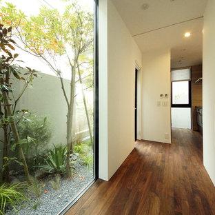 東京23区のモダンスタイルのおしゃれな廊下 (白い壁、無垢フローリング、茶色い床) の写真