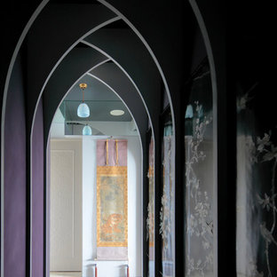 This is an example of an asian hallway in Tokyo with purple walls and beige floor.