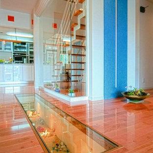 Свежая идея для дизайна: коридор в современном стиле с белыми стенами, деревянным полом и красным полом - отличное фото интерьера