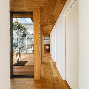 Источник вдохновения для домашнего уюта: коридор среднего размера в стиле модернизм с белыми стенами, полом из фанеры и коричневым полом