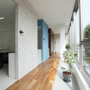 Esempio di un ingresso o corridoio scandinavo di medie dimensioni con pareti beige, pavimento in terracotta e pavimento bianco
