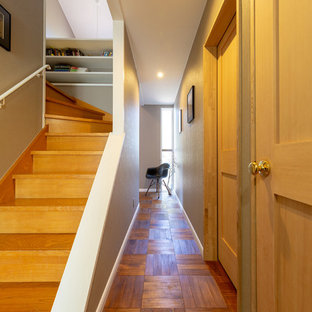 Midcentury hallway in Other with grey walls, medium hardwood floors and brown floor.
