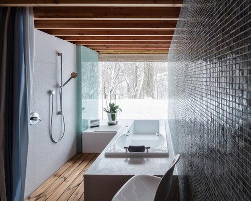 Asiatische badezimmer mit schwarzer wandfarbe ideen - Schwarzer duschvorhang ...