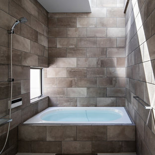 Example Of A Mid Sized Minimalist Master Gray Tile And Ceramic Tile Ceramic  Floor And