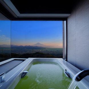 Foto di una stanza da bagno padronale minimalista con vasca idromassaggio e pareti grigie