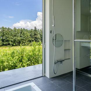 他の地域のモダンスタイルの浴室・バスルームの画像 (置き型浴槽、段差なし、オープンシャワー)