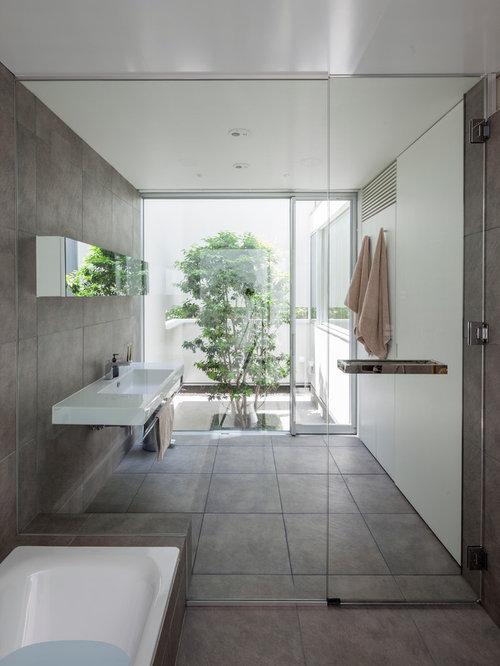 salle de bain avec une douche l 39 italienne japon photos et id es d co de salles de bain. Black Bedroom Furniture Sets. Home Design Ideas