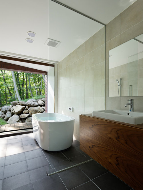 Inspiration for a contemporary freestanding bathtub remodel in other with flat panel cabinets medium