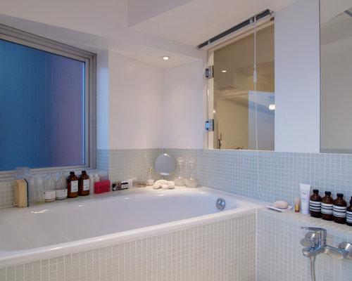 Salle de bain romantique avec un carrelage vert : Photos et idées ...