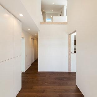 На фото: прихожие в стиле модернизм с белыми стенами, полом из фанеры, раздвижной входной дверью, входной дверью из темного дерева и коричневым полом