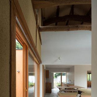 Modelo de distribuidor tradicional, de tamaño medio, con paredes blancas, suelo de cemento, puerta corredera, puerta de madera clara y suelo gris