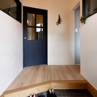 他の地域の北欧スタイルのおしゃれな玄関ホール (白い壁) の写真