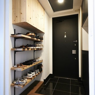 Mid-sized trendy plywood floor and brown floor entryway photo in Other with white walls and a black front door