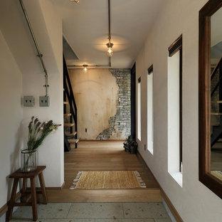 他の地域のインダストリアルスタイルのおしゃれな玄関ホール (白い壁、グレーの床) の写真