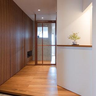 北欧スタイルのおしゃれな玄関ホール (白い壁) の写真