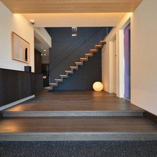 На фото: узкая прихожая в восточном стиле с белыми стенами, полом из фанеры и черным полом с