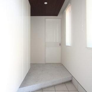 他の地域のコンテンポラリースタイルのおしゃれな玄関ホール (白い壁、グレーの床) の写真