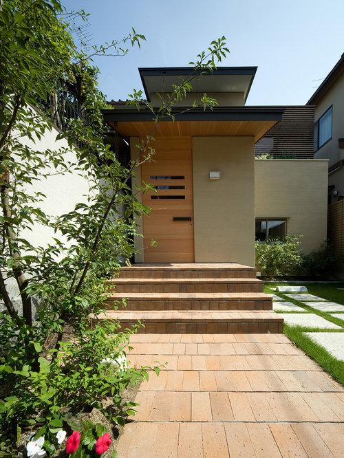 asiatischer eingang mit haust r hauseingang eingangsbereich gestalten. Black Bedroom Furniture Sets. Home Design Ideas