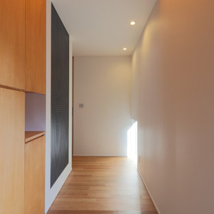 Example of a small minimalist brown floor and plywood floor entryway design in Other with white walls and a black front door