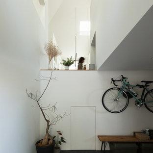 Foto de hall romántico, de tamaño medio, con paredes blancas, suelo de cemento, puerta simple, puerta de madera en tonos medios y suelo negro