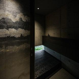 Удачное сочетание для дизайна помещения: прихожая в стиле лофт с серебряными стенами, гранитным полом и серым полом - самое интересное для вас