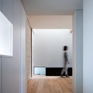 На фото: маленькая узкая прихожая в современном стиле с белыми стенами, полом из фанеры, двустворчатой входной дверью и белой входной дверью
