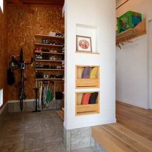 Mudroom   Mid Sized Industrial Mudroom Idea In Other With White Walls