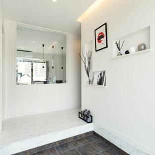 Modern inredning av en entré, med vita väggar, svart golv, en dubbeldörr och en svart dörr