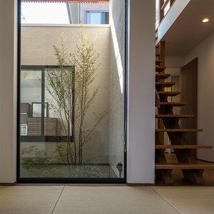 Ejemplo de hall minimalista, grande, con paredes blancas, tatami, puerta simple, puerta de madera oscura y suelo marrón