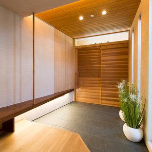 Diseño de entrada de estilo zen con paredes blancas, puerta corredera, puerta de madera en tonos medios y suelo negro