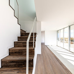 Mittelgroßer Moderner Eingang mit weißer Wandfarbe, Sperrholzboden, weißer Tür und braunem Boden in Sonstige