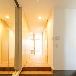 Idee per un corridoio rustico di medie dimensioni con pareti bianche, pavimento in terracotta e pavimento turchese