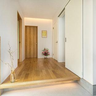 他の地域のコンテンポラリースタイルのおしゃれな玄関ホール (白い壁、淡色無垢フローリング) の写真