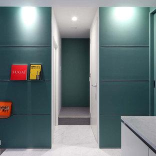 Exempel på en liten modern hall, med gröna väggar, marmorgolv, en enkeldörr, en svart dörr och vitt golv
