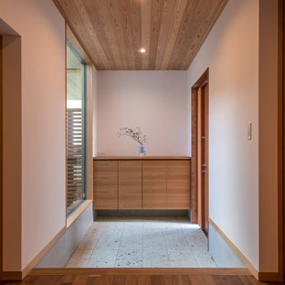Photo of a world-inspired hallway in Other with white walls, a single front door, a medium wood front door and grey floors.