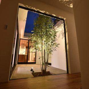 Идея дизайна: узкая прихожая в стиле модернизм с белыми стенами, полом из фанеры, коричневым полом, потолком с обоями и обоями на стенах