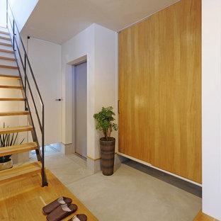 他の地域の引き戸モダンスタイルのおしゃれな玄関ホール (白い壁、無垢フローリング、金属製ドア) の写真