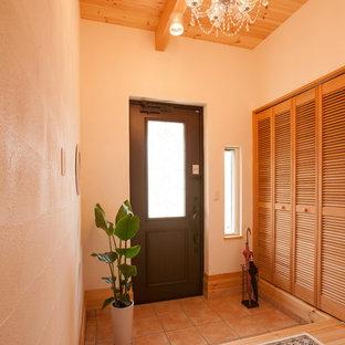 Ispirazione per un corridoio etnico con pareti bianche, pavimento in terracotta, una porta singola, una porta nera e pavimento arancione